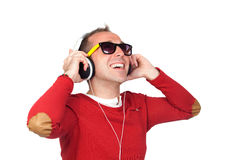 Sympathetic man with headphone Stock Images