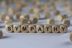 Sympathie - cube avec des lettres, signe avec les cubes en bois Photos libres de droits
