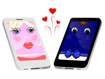 Sympathie entre les deux téléphones Photos libres de droits