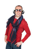 Sympathieke mens met hoofdtelefoon Stock Foto's