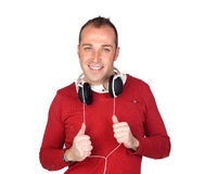 Sympathieke mens met hoofdtelefoon Stock Foto
