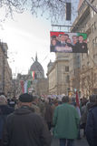 Sympathy strike by the Hungarian government. BUDAPEST - MARCH 15: Sympathy strike by the Hungarian government on the day of Hungarian national revolution on Royalty Free Stock Photos