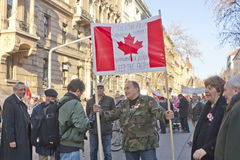 Sympathy strike by the Hungarian government. Sympathy strike in BUDAPEST - MARCH 15: Sympathy strike by the Hungarian government on the day of Hungarian national Royalty Free Stock Images