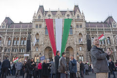 Sympathy strike by the Hungarian government. Sympathy strike in BUDAPEST - MARCH 15: Sympathy strike by the Hungarian government on the day of Hungarian national Royalty Free Stock Image