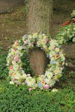 Sympathy wreath in pastel colors Stock Photo