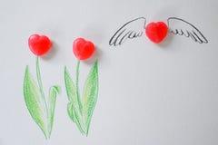 Sympatia cukierku tulipanowy tło dla prezentaci miłość, walentynki, Poślubia Fotografia Royalty Free