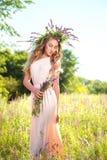 Sympatii elegancka dama w pięknej długiej sukni z wiankiem Fotografia Royalty Free