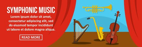 Symphonic music banner horizontal concept. Flat illustration of symphonic music banner horizontal vector concept for web Royalty Free Stock Photos