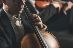 Symphonic orchestra performing on stage. And playing a classical music concert, cellist in the foreground, hands close up stock image