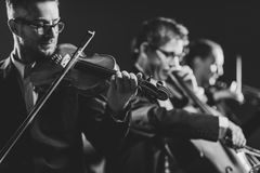 Symphonic string orchestra performing on stage. Professional symphonic string orchestra performing on stage and playing a classical music concert, violinist in royalty free stock photos