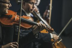 Symphonic string orchestra performing on stage. Professional symphonic string orchestra performing on stage and playing a classical music concert, violinist in royalty free stock photo