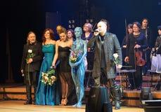 Symphonica - le spectacle de multimédia avec la musique par Metallica, nirvana, confiture de perle, Deep Purple, AC/DC, lance N†Photo stock