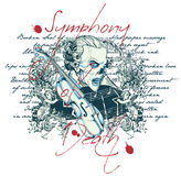 Symphony of death. Vector illustration ideal for printing on apparel clothes Royalty Free Stock Photography