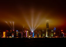 Symphony of Light at Hong Kong harbour Stock Photos