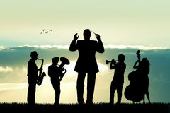 Symphony orchestra. Illustration of a symphony orchestra silhouette Royalty Free Stock Photos