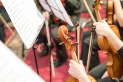 Symphony Orchestra in indoor. Focus Royalty Free Stock Photo