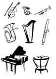 Symphony Orchestra Instruments Hand Drawn Vectors. Classical symphony orchestra musical instruments set. Violin with bow, timpani, trumpet, horn, tuba, piano Royalty Free Stock Photos