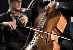 Symphony orchestra performance: celloist close-up Stock Photography