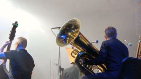 Symphony orchestra on the stage, orchestral brass section, behind the scenes shoot stock video
