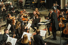 Symphony orchestra on stage. Violin group plays Royalty Free Stock Image