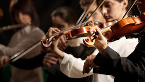 Symphony orchestra violinists performing. On stage against dark background Stock Photography