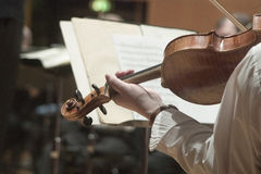 SYMPHONY VIOLIN. Closeup of musician playing the violin during a symphony Royalty Free Stock Photography