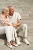 Sympothetic elderly couple went for a walk Royalty Free Stock Photo