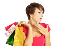 Sympothetic girl acquired gifts Royalty Free Stock Images