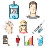 Symptômes et traitement de diabète Icône de diabète dans la collection d'ensemble sur la bande dessinée Illustration de Vecteur