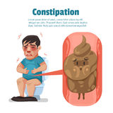 Symptôme de constipation chez un homme et dunette dans l'intestin illustration stock