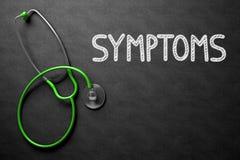 Symptômes - texte sur le tableau illustration 3D Images stock