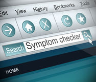 Symptom checker concept. Illustration depicting a screenshot of an internet search with a symptom checker concept Royalty Free Stock Image