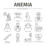 Symptoms of anemia. Iron deficiency. Diagnosis and treatment of anemia. Line icons set. Vector signs for web graphics Royalty Free Stock Image