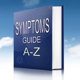 Symptoms concept. Illustration depicting a text book with a symptoms concept Royalty Free Stock Photo