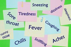 Symptoms of flu and cold. Written on notes Stock Images