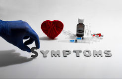 Symptoms. Hand and symptoms word on the white background Royalty Free Stock Photos