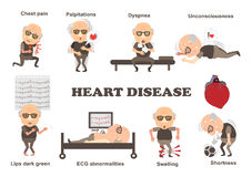 Symptoms heart disease. Symptoms of heart disease and acute pain possible heart attack Info Graphics. Vector illustrations stock illustration