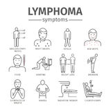 Symptoms of lymphoma. Lymphoma signs. Lymphatic Cancer Symptoms. Line icons set. Vector signs for web graphics Royalty Free Stock Photos
