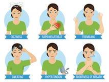 Symptoms of panic attack vector illustration