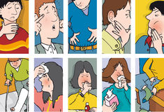 Symptoms. Various symptoms affecting various people vector illustration