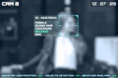 Symulacja ekran cctv kamery z twarzowym rozpoznaniem zdjęcia royalty free