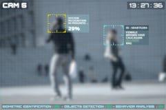 Symulacja ekran cctv kamery z twarzowym rozpoznaniem zdjęcia stock