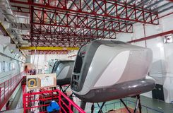 Symulanci w Kanadyjskich lotnictwo elektronika Lotniczy Azja w Kuala Lumpur obraz stock