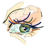 Syna Makeup Konststilen, borsteslaglängder stock illustrationer