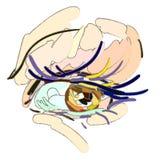 Syna Makeup Konststilen, borsteslaglängder royaltyfri illustrationer