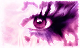 Syna målningcollage, abstrakt begreppfärgmakeup, den violetta signalen Royaltyfri Bild