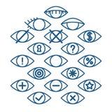 Syna symboler för olika handlingar, uppsättning av översiktsögonpictograms, symboler för vektoroperation Royaltyfri Illustrationer