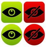 Syna symboler som showen, skinn, synligt, osynligt, offentligt privat I stock illustrationer
