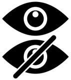 Syna symboler som showen, skinn, synligt, osynligt, offentligt privat I vektor illustrationer
