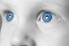 synad blå pojke arkivbilder